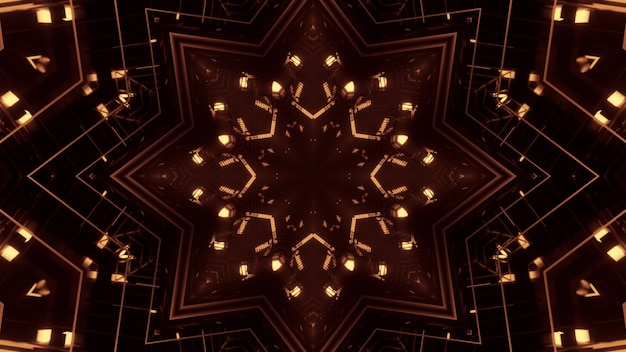 Illustration of bright golden neon lights shining and forming abstract star shaped ornament in darkness