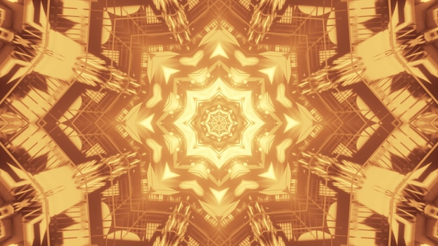 Illustration of bright star shaped ornament glowing with yellow light inside abstract tunnel