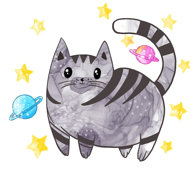 Illustration of a cat pet in watercolor style with a texture of different colors on a white isolated background.