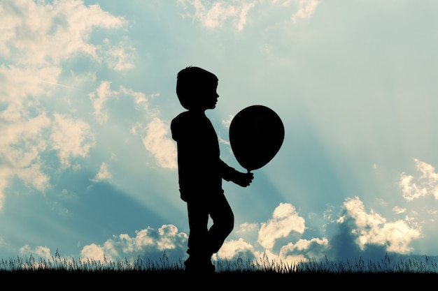 Illustration of child with balloon silhouette