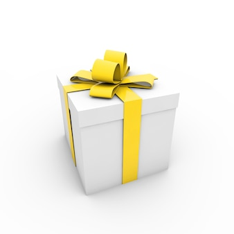Illustration of a christmas present with a yellow ribbon on a white background