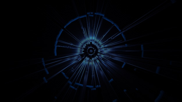 Illustration of a circle with abstract neon light effects - great for a futuristic background