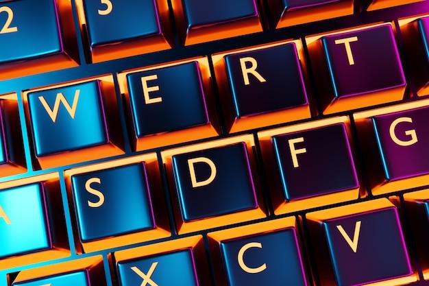 イラスト、ネオンライト付きのリアルなコンピューターまたはラップトップキーボードのクローズアップ。