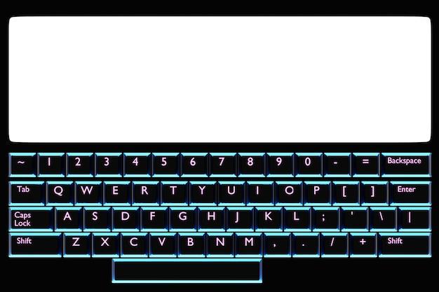 イラスト、白いモニターと黒い背景にネオンブルーの光でキーボードと現実的なコンピューターまたはラップトップのクローズアップ