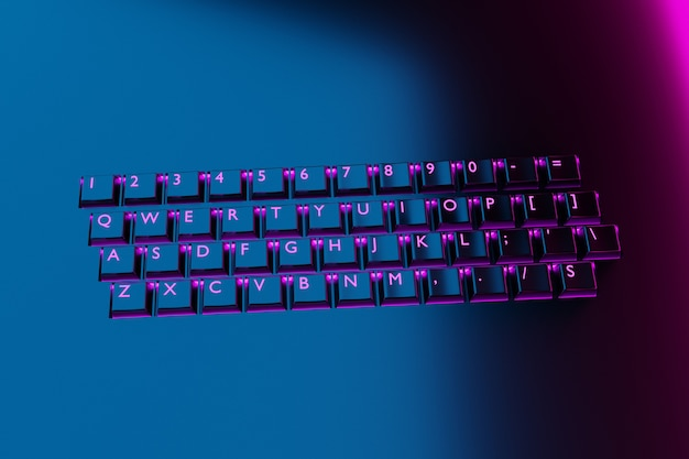 Illustration, close up of the realistic computer or laptop keyboard with neon light  on black background .