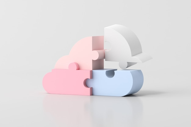 Illustration of cloud in jigsaw puzzle pieces concept design, 3d rendering.