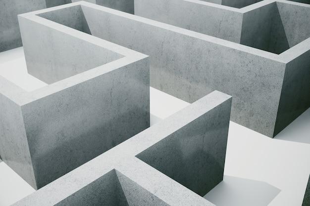 Illustration cocrete labyrinth, complex problem solving concept