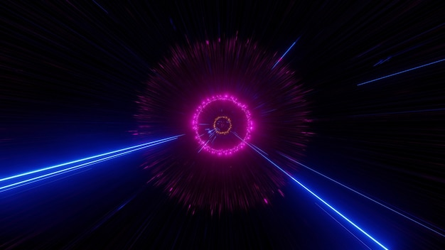 Illustration of dark tunnel illuminated with pink circle and blue neon rays