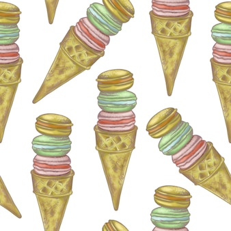Illustration digital drawing ice cream seamless pattern of different shapes and colors on a white Premium Photo
