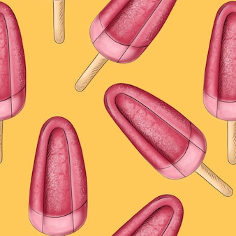 Illustration digital drawing ice cream seamless pattern of different shapes and colors on a yellow