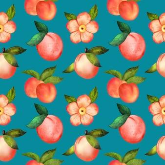 복숭아와 꽃의 그림 디지털 수채화 원활한 패턴