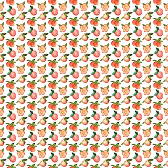 Illustration digital watercolor seamless pattern of peach and flowers