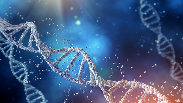 Illustration dna structure isolated on blue