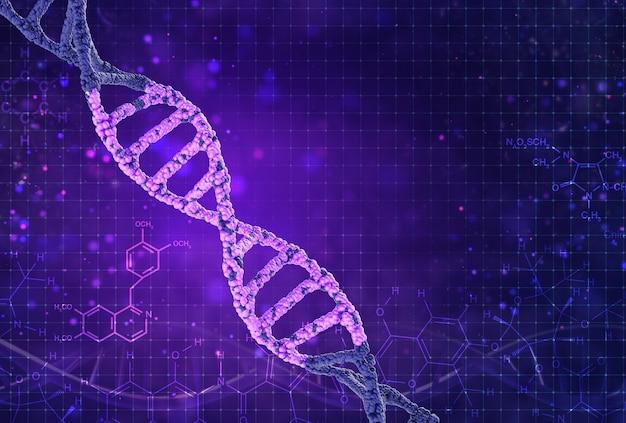 Illustration dna structure isolated on purple