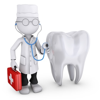 Illustration of doctor next to the tooth on white