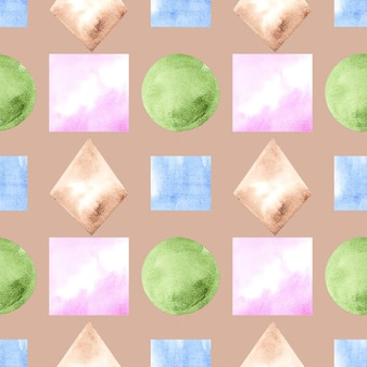 Illustration drawing watercolor seamless pattern of shapes of shapes on a background