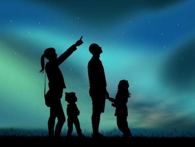 Illustration of family looking aurora borealis