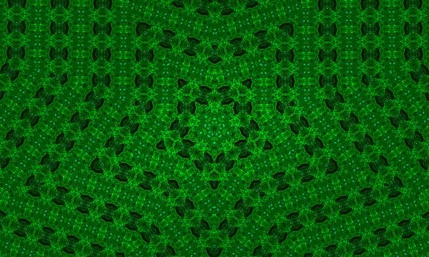 Иллюстрация зеленый рыбий глаз абстрактный фон калейдоскоп. многоцветный геометрический фон калейдоскопа. красочная текстура калейдоскопа. декоративный калейдоскопический орнамент. красочный орнамент фона.