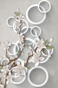 Иллюстрация цветочный фон с белыми цветами ветви круги декоративные обои
