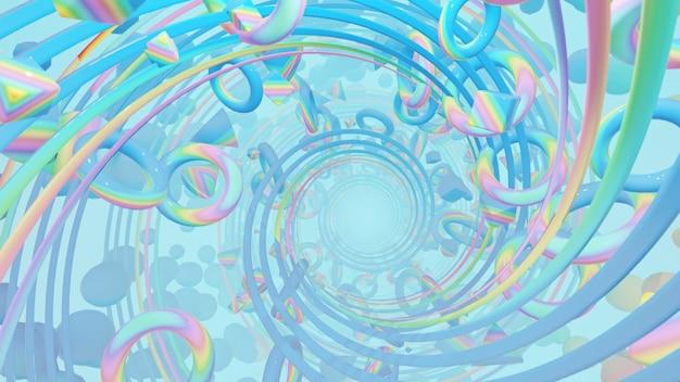 Иллюстрация для рекламы и обоев в стиле flat art и рендеринг абстрактных сцен в декоративной концепции