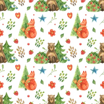 Illustration of forest and cute forest animals of bear and fox