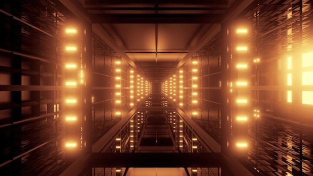 Illustration of futuristic corridor illuminated with bright golden neon lamps