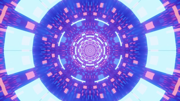 Illustration of futuristic tunnel with abstract geometric ornament glowing with pink and blue neon lights