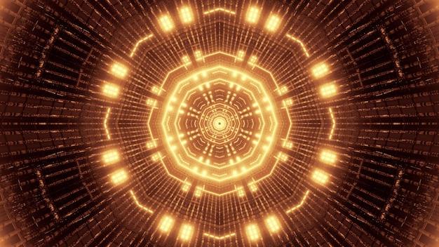 Illustration of geometric futuristic tunnel illuminated with bright neon lights of golden color