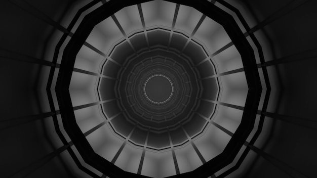 Illustration of geometric monochrome ornament forming abstract symmetric dark tunnel