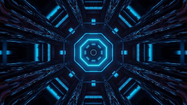 Illustrazione di forme geometriche con luci laser colorate, ideale per sfondi e sfondi