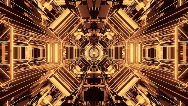 Illustrazione di forme geometriche con luci laser gialle incandescenti - perfette per gli sfondi