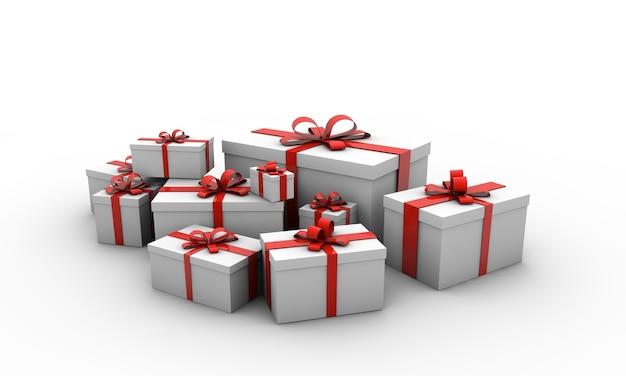 Illustrazione di scatole regalo con fiocchi rossi isolati su sfondo bianco