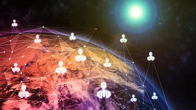 Иллюстрация глобальной современной творческой коммуникации и карта сети интернет