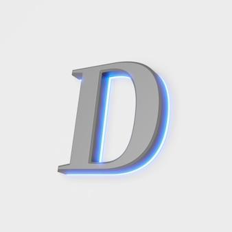 Illustration of glowing letter d on white background. 3d illustration