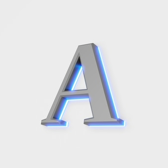 Illustration of glowing letter a on white background. 3d illustration