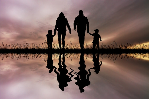 Illustration of happy family at sunset