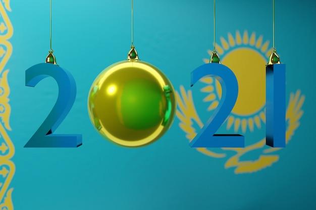 Иллюстрация с новым годом на фоне государственного флага казахстана