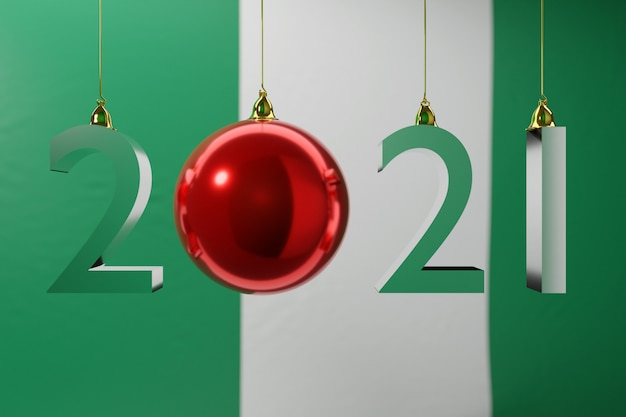 Иллюстрация с новым годом на фоне национального флага нигерии