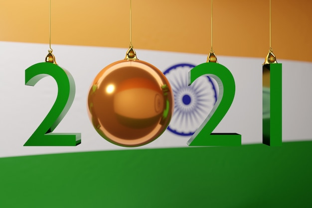 Illustration of happy new year of the national flag of india white letter