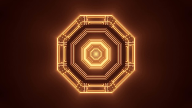 Illustration of a hexagonal figure made of brown and gold lights