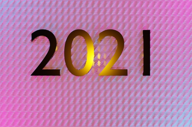 Illustration inscription   from  gold  neon lines on a pink metallic background