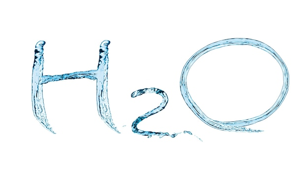 Illustration inscription h2o with splashes and stream of water in blue. isolated on white background