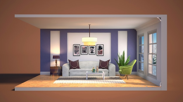 Illustration interior of the living room in a box