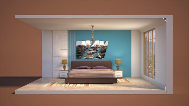 ボックスの寝室のイラストインテリア