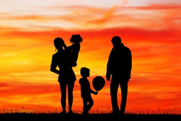 Illustration of joyful family at sunset