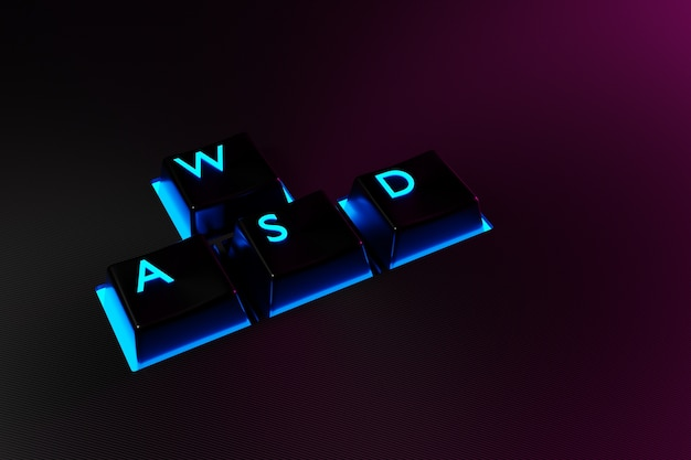 Иллюстрации кнопки клавиатуры wasd с неоновым светом на черном фоне.