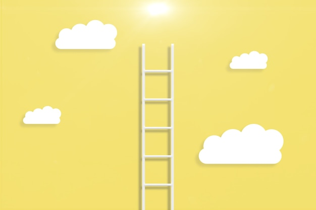 Illustration of a ladder with clouds in yellow background