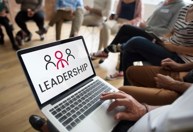 Illustration of leadership business organization on laptop