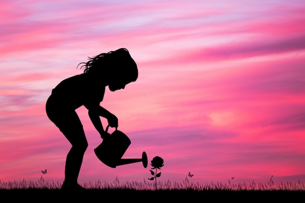 Illustration of little girl with watering can bath the rose