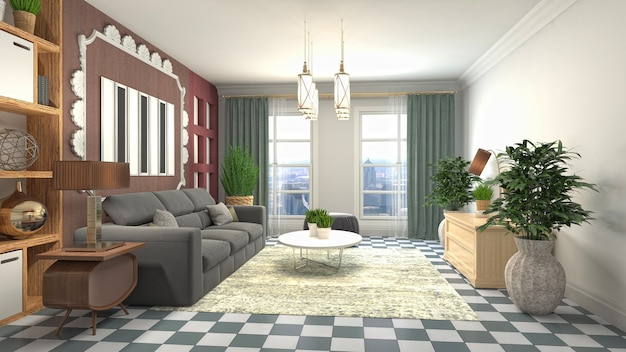 Illustration of the living room interior